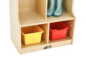 amazon com ecr4kids birch 2 section coat locker with bench
