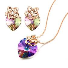rose gold necklace earrings images Everlasting love quot purple swarovski elements crystal heart shaped jpg