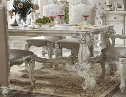 versailles dining room versailles dining table white by acme 61145