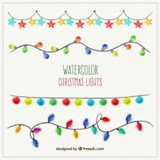watercolor christmas lights vector free download