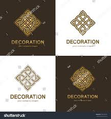 collection logos interior furniture shops decor stock vector