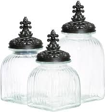 fleur de lis kitchen canisters home accessories appealing glass canisters for kitchenware ideas