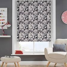 decorated with a modern pattern made up of grey circles and