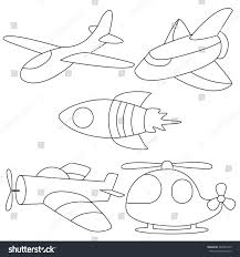 air vehicles cute planes coloring stock vector 389476189