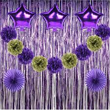 purple decorations 16pcs purple and gold party decorations 2017 paper pom poms