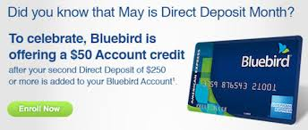direct deposit card get 50 with direct deposit to bluebird running with