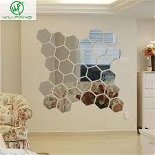 Aliexpress Home Decor Aliexpress Com Buy Fashion Hexagon Acrylic Mirror Wall Sticker