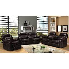 vivienne dark brown leather air 3 pc reclining sofa set with