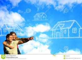 happy couple under the blue sky dreaming of a hous stock image