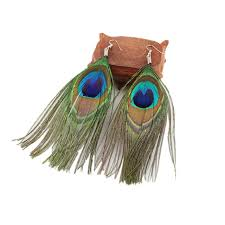 peacock feather earrings women ethnic earrings fashion handmade peacock feather