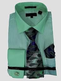 men u0027s dress shirt tie set lime green white stripe cuff links