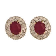 ruby stud earrings subhavya diamond ruby stud earrings jewellery bridal m walters