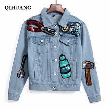cute jacket pattern qihuang new women jean jacket coat fashion sequins cute pattern
