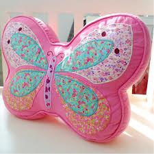 ihappy pink butterfly shape plush embroidery cushion kids