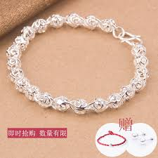 silver bracelet gift images 990 sterling silver bracelet women 39 s simple fashion bead bracelet jpg