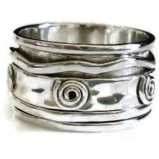 mens spinner rings hammered sterling silver spiral detail spinner ring