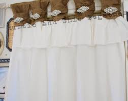 Burlap Ruffle Curtains Burlap Curtains Tea Dyed Rosettes Wide Tabs