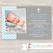 Baptismal Invitation Card Design Blue And Grey Baptism Invitation Chevron Baptism Invitation