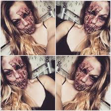 gory zombie halloween makeup look using liquid latex halloween