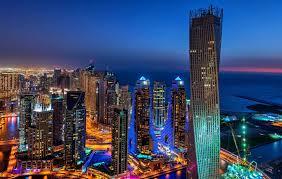 dubai dubai marina dubai united arab emirates town night lights