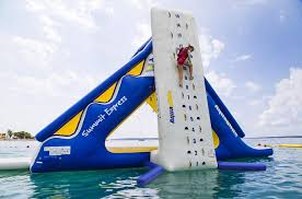 theme park rother valley sheffield aqua park inflatable assault course in rother valley