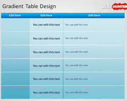 free simple gradient table design template for powerpoint free