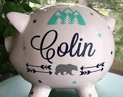 customized piggy bank baby piggy bank etsy