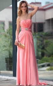 bridesmaid dresses line strapless chiffon peach bridesmaid
