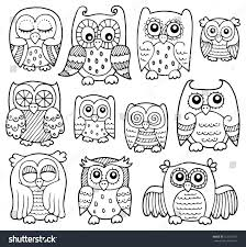 owl drawings theme 1 eps10 vector stock vector 515237347