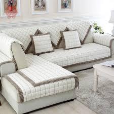 housse canapé blanc blanc gris à carreaux en peluche longue fourrure housse de canapé