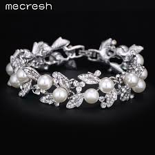 wedding jewelry bracelet crystal images Mecresh simulated pearl bracelets for women silver plated link jpg