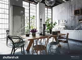 dining room tables chairs houseplants spacious stock illustration
