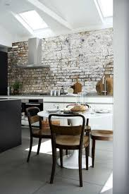 Kitchen Room   Adorable Using Black Granite Countertops - Brick veneer backsplash
