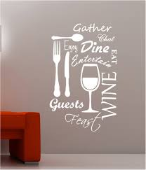 wall art ideas design family recipe kitchen vinyl wall art wall art ideas design quotes enjoy kitchen vinyl dinner decorations red sofa white text drinkware glass