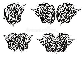 tribal butterfly wings tattoo black on the white stock vector