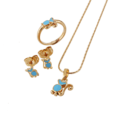 childrens gold jewelry baby jewelry sets18k gold plated kids ring earrings pendant
