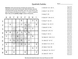 factoring and solving quadratics sudoku puzzle tpt
