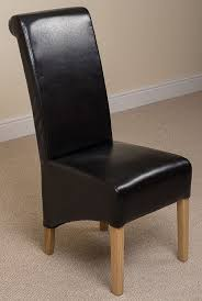 Ivory Chair X2 Montana Scroll Back Leather Dining Chairs Black Amazon Co Uk