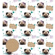pug wrapping paper birthday pug gift wrap national animal welfare trust shop