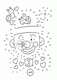 clown dot to dot coloring pages for kids connect the dots