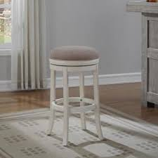 Backless Swivel Bar Stool American Woodcrafters Aversa 26 In Distressed Antique White