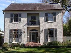 ben moore owl gray painted brick house by things that inspire via