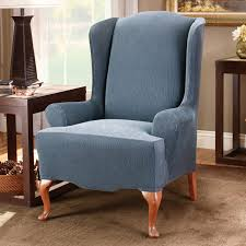 Wing Back Chair Slip Covers Sure Fit Stretch Stripe Wing Chair Slipcover Walmart Com