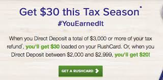 prepaid cards with direct deposit rushcard prepaid card 30 bonus direct deposit tax refund