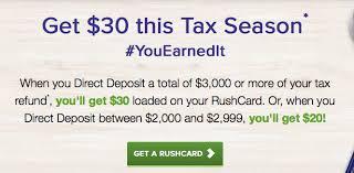 direct deposit card rushcard prepaid card 30 bonus direct deposit tax refund