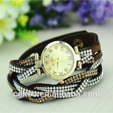crystal bracelet watches images Famous brand fashion leather band wrist bracelet watch for girl jpg