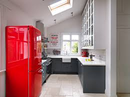 Kitchen Cabinet Vinyl Kitchen Floor Small Modern Luxury Kitchen Red Refrigerator White