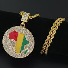 hip hop jewelry necklace images 2 sizes gold jamaican africa map continent african round pendant jpg