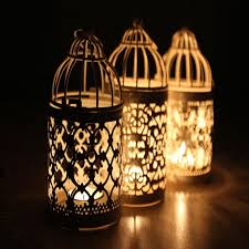 Bird Cage Decor White Color Bird Cage Decoration Candle Holders Metal Lantern