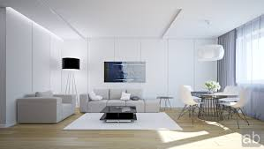 white livingroom in white living room with grey sofa and white